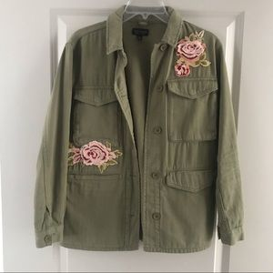 Topshop army green jacket with florals